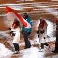Exclusif - La princesse Alexandra de Hanovre porte-drapeau de la délégation monégasque lors de la cérémonie d'ouverture du Festival olympique de la jeunesse européenne (FOJE) d'hiver 2015 à Dornbirn, en Autriche. La fille de la princesse Caroline était en lice en patinage artistique, discipline à laquelle elle s'adonne en sport études à Annecy.
