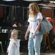 Exclusif - Drew Barrymore et sa fille Olive quittent le restaurant The Sycamore Kitchen à Los Angeles. Le 23 janvier 2015.