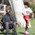 Seal assiste au match de football de ses enfants Leni, Henry et Johan à Los Angeles Le 31 Janvier 2015