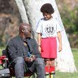 Seal assiste au match de football de ses enfants Leni, Henry et Johan à Los Angeles, le samedi 31 Janvier 2015