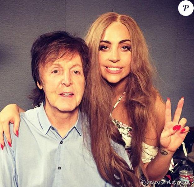 Paul McCartney et Lady Gaga en studio. Février 2015.