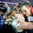 Julian Edelman et Tom Brady fêtent la victoire des New England Patriots au Super Bowl le 1er février 2015 à Glendale