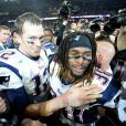 Tom Brady et Brandon Browner fêtent la victoire des New England Patriots au Super Bowl le 1er février 2015 à Glendale