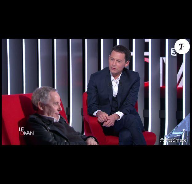 Fabrice Luchini et Marc-Olivier Fogiel, dans Le Divan sur France 3 (émission diffusée le mardi 3 février 2015).