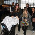 Christian Bale, sa femme Sibi, sa fille Emmaline et leur petit garçon à l'aéroport LAX de Los Angeles le 6 février 2015