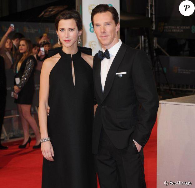 """Benedict Cumberbatch et sa fiancée Sophie Hunter (enceinte) - Cérémonie des """"British Academy of Film and Television Arts"""" (BAFTA) 2015 au Royal Opera House à Londres. Le 8 février 2015."""