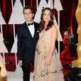 Keira Knightley enceinte (dans une robe Valentino Couture) et son mari James Righton - 87e cérémonie des Oscars à Los Angeles le 22 février 2015