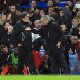 Jose Mourinho et Laurent Blanc lors du huitième de finale entre Chelsea et le PSG, le 11 mars 2015 à Londres
