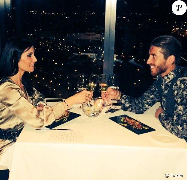 Sergio Ramos et Pilar Rubio pour l'anniversaire de cette dernière à Madrid le 17 mars 2015.