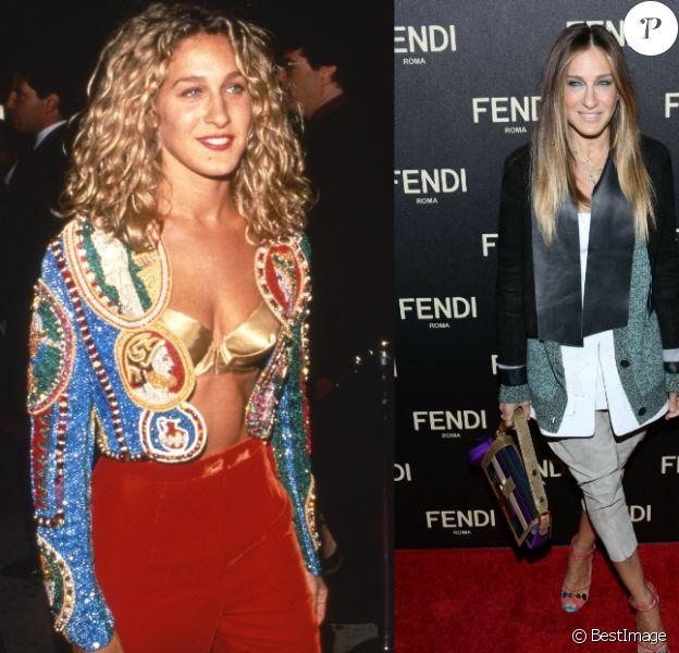 Sarah Jessica Parker en 1990 (gauche) et en 2015