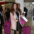 Charlotte Pirroni au départ de l'aéroport de Paris-Charles-de-Gaulle à destination de Punta Cana à Roissy-en-France, le 14 novembre 2014