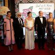 Charlotte Casiraghi, Karl Lagerfeld, la princesse Caroline de Hanovre, le prince Albert II de Monaco, Paola Marzotto (mère de Béatrice Borroméo), Pierre Casiraghi et Beatrice Borromeo lors du Bal de la Rose qui se tenait au Sporting de Monte-Carlo à Monaco le 28 mars 2015