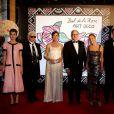 Charlotte Casiraghi, Karl Lagerfeld, la princesse Caroline de Hanovre, le prince Albert II de Monaco, Paola Marzotto (mère de Beatrice Borromeo), Pierre Casiraghi et Beatrice Borromeo lors du Bal de la Rose qui se tenait au Sporting de Monte-Carlo à Monaco le 28 mars 2015