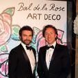 Stéphane Bern et son compagnon Cyril Vergniol lors du Bal de la Rose qui se tenait au Sporting de Monte-Carlo à Monaco le 28 mars 2015