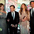 Mikhaïl Barychnikov, Rita Caltagirone et le prince Emmanuel Philibert de Savoie lors du Bal de la Rose qui se tenait au Sporting de Monte-Carlo à Monaco le 28 mars 2015