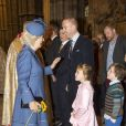 Camilla, la duchesse de Cornwall et l'acteur Damian Lewis ainsi que ses enfants Manon (7 ans) et Gulliver (5 ans), après le festival Harvest à Westminster Abbey, Londres, le 16 octobre 2013