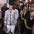 Semi-Exclusif - Khloe Kardashian et French Montana vont faire la fête au Dream Nightclub avec P.Diddy (Sean Combs) à Miami, le 29 mars 2015.