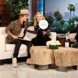 Madonna et Justin Bieber sur le plateau de l'émission d'Ellen DeGeneres à Los Angeles le 18 mars 2015.