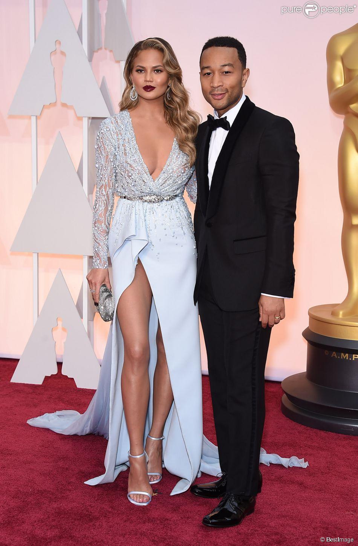 John Legend et sa femme Chrissy Teigen - People à la 87ème cérémonie des Oscars à Hollywood le 22 février 2015 23 February 2015.
