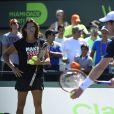 Andy Murray à l'entraînement sous les yeux d'Amélie Mauresmo avant sa finale, perdue, face à Novak Djokovic le 5 avril 2015 à Miami, à six jours de son mariage avec sa fiancée Kim Sears.