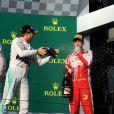 Lewis Hamilton, Nico Rosberg et Sebastian Vettel lors du Grand Prix d'Australie à Melbourne, le 15 mars 2015