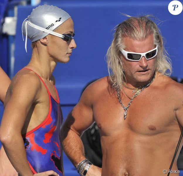 Philippe Lucas et Camelia Potec lors des championnats du monde de natation à Rome, le 31 juillet 2009