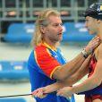 Philippe Lucas et Camelia Potec à l'entraînement lors des Jeux olympiques de Pékin le 14 août 2008