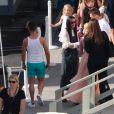 Demi Moore et son ancienne belle-mère Marlene Willis (la mère de Bruce Willis) sur le tournage de Dancinw With The Stars pour soutenir Rumer Willis à Hollywood, Los Angeles, le 20 avril 2015