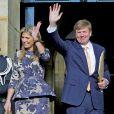 La reine Maxima et le roi Willem-Alexander des Pays-Bas lors d'un événement le 23 avril 2015 à Amsterdam en vue du 48e anniversaire, le 27.
