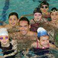 """Camille Lacourt lors du """"Défi de l'Eau"""" à la piscine Claude Jouve à Berre-L'étang le 14 mars 2015"""