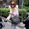 Lindsay Lohan à la sortie de la boutique John Richmond à Milan, le 29 avril 2015