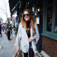 Lindsay Lohan à la sortie du restaurant Ivy dans Chelsea, à Londres, le 12 avril 2015