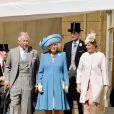 Le prince Charles, Camilla Parker Bowles, le prince Andrew et la comtesse Sophie de Wessex lors de la première garden party de l'année à Buckingham, le 12 mai 2015