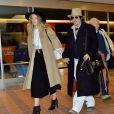 Johnny Depp et Amber Heard arrivent à l'aéroport de Tokyo. Le 26 janvier 2015.