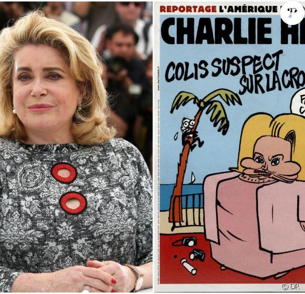 Catherine Deneuve en couverture du Charlie Hebdo du 13 mai 2015.