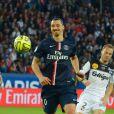 Zlatan Ibrahimovic lors de la rencontre entre le Paris Saint-Germain e Guingamp au Parc des Princes à Paris, le 8 mai 2015