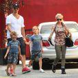 Zlatan Ibrahimovic, sa compagne Helena Seger et leurs fils Maximilian et Vincent à New York, le 25 juin 2014