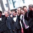 """Matthieu Taponier, Mendy Cahan, guest, Urs Rechn, Clara Royer, Laszlo Nemes, Matyas Erdely, Geza Rohrig - Montée des marches du film """"Le fils de Saul"""" lors du 68e Festival International du Film de Cannes, le 15 mai 2015."""