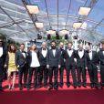 """Guest, Clara Royer, Urs Rechn, Geza Rohrig, Matyas Erdely, Laszlo Nemes, Gabor Rajna, Gabor Sipos, Levente Molnar, Todd Charmont, Matthieu Taponier, Mendy Cahan - Montée des marches du film """"Saul Fia"""" lors du 68ème Festival International du Film de Cannes, le 15 mai 2015. Red carpet for the movie """"Saul Fia"""" during the 68th Cannes Film festival - Cannes on May 15, 2015.15/05/2015 - Cannes"""