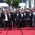 """Urs Rechn, Clara Royer, Laszlo Nemes, Matyas Erdely, Geza Rohrig, Gabor Sipos, Gabor Rajna, Levente Molnar, Todd Charmont - Montée des marches du film """"Le fils de Saul"""" lors du 68e Festival International du Film de Cannes, le 15 mai 2015"""