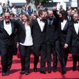 """Urs Rechn, Clara Royer, Laszlo Nemes, Matyas Erdely, Geza Rohrig, Gabor Sipos - Montée des marches du film """"Le fils de Saul"""" lors du 68e Festival International du Film de Cannes, le 15 mai 2015"""