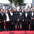 """Urs Rechn, Clara Royer, Laszlo Nemes, Matyas Erdely, Geza Rohrig, Gabor Sipos, Gabor Rajna - Montée des marches du film """"Le fils de Saul"""" lors du 68e Festival International du Film de Cannes, le 15 mai 2015"""