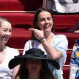 Pauline Ducruet et Camille Gottlieb, filles de la princesse Stéphanie de Monaco, lors du baptême du prince Jacques et de la princesse Gabriella de Monaco, le 10 mai 2015 à Monaco.