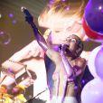 Miley Cyrus lors d'un concert à l'afterparty Adult Swim Upfront au Terminal 5 à New York, le 13 mai 2015