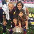 Javier Mascherano en famille pour fêter le titre du Barça le 23 mai 2015 au Camp Nou.