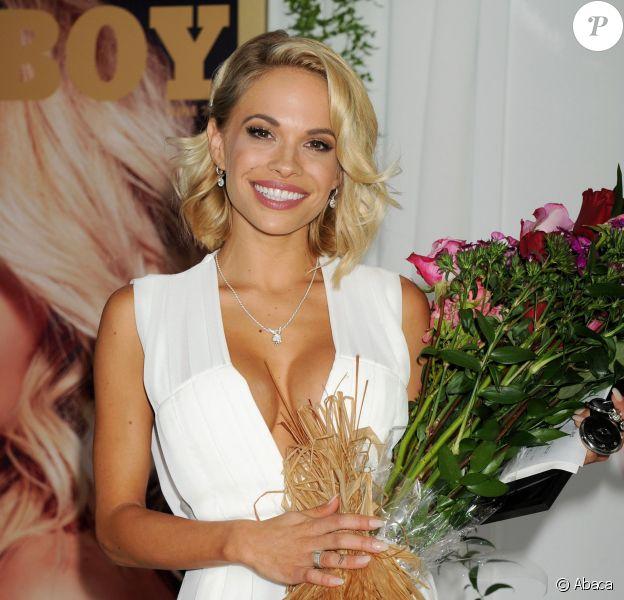 Dani Mathers, playmate de l'année du magazine Playboy, est sacrée lors d'un déjeuner organisé au sein du Plaboy Mansion, le 14 mai 2015.