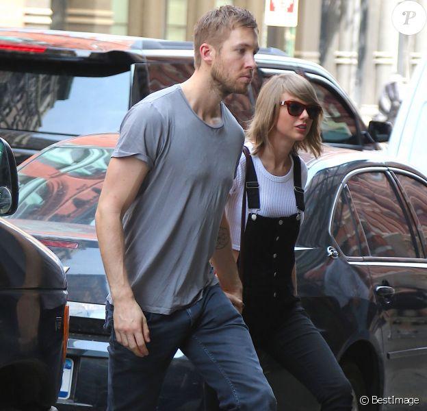 Taylor Swift et son petit ami Calvin Harris sortent d'un restaurant à New York, le 28 mai 2015.