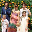 Nacho Figueras, Delfina Blaquier et sa famille lors du 8e tournoi de Polo Veuve Clicquot près de New York le 30 mai 2015