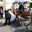 Exclusif - Mariage de Véronique et Thierry ( L'amour est dans le pré, saison 9 ) à Valençay. Parmi les invités figuraient les anciens participants de l'émission. Le 23 mai 2015.
