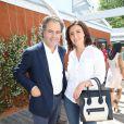 Luc Chatel et sa compagne Mahnaz Hatami - Finale hommes du tournoi de tennis de Roland-Garros à Paris, le 7 juin 2015.